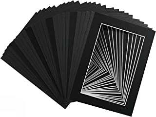 Mat Board Center, Pack of 25, 5x7 Black Picture Mats with White Core for 4x6 Pictures