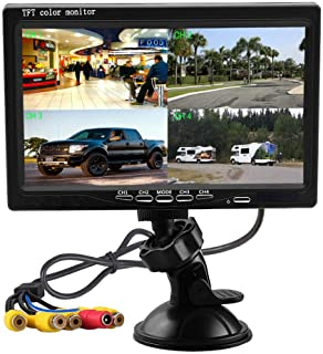 Hikity Quad Split Monitor 7 Inch HD Screen LCD Video Displays for Home CCTV Surveillance Security System, Windshield Style...