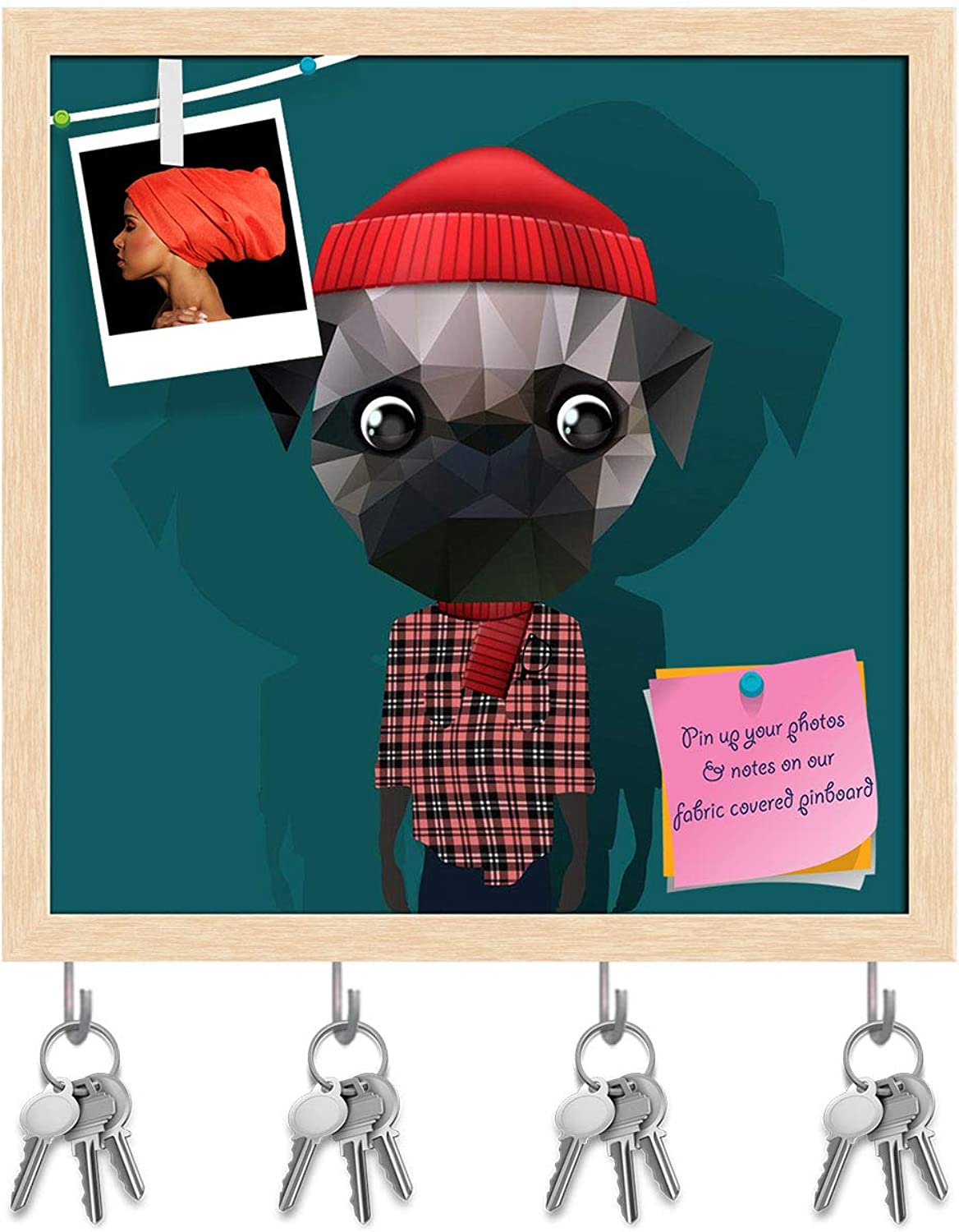 Artzfolio Fashion Hipster Animal Key Holder Hooks   Notice Pin Board   Natural Brown Frame 20 X 20Inch