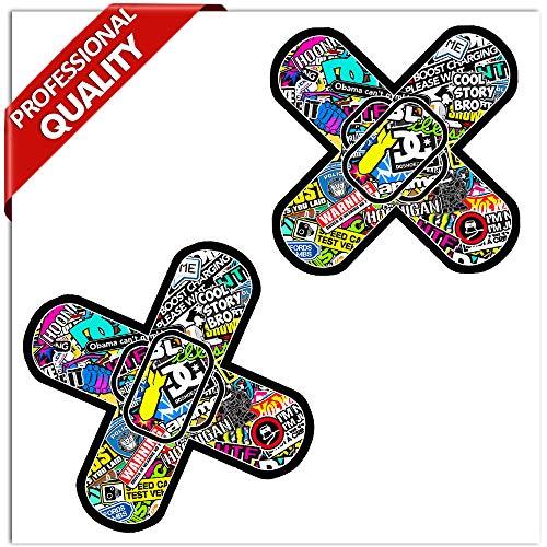 SkinoEu® 2 stuks vinyl sticker autosticker sticker bomb pleister kruis band spiegel auto motorfiets raam deur tuning B 224