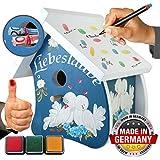 galleryy.net Gästebuch zur Hochzeit - Vogelhaus Liebeslaube Blau - Hochzeitsgeschenk & Geldgeschenk