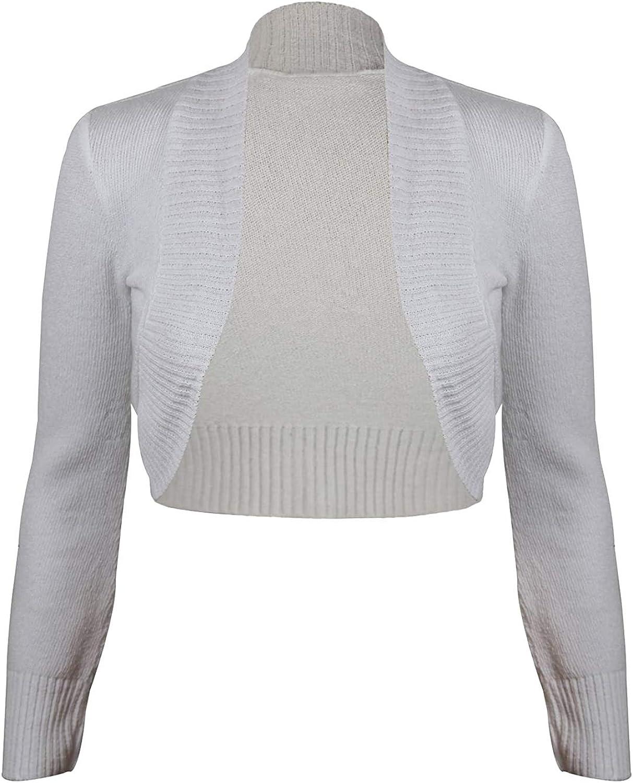 Purple Hanger Women's Ribbed Knitted Crop Bolero Shrug Cardigan White 8-10