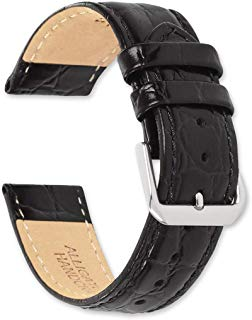 deBeer Alligator Grain Leather Watch Band - Black - 20mm - Short Length Replacement Watch Strap