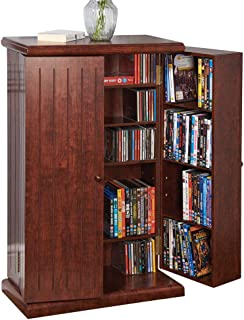 Collections Etc Multi-Functional Double Door Media Cabinet - Storage for DVDs, CDs, Other Devices