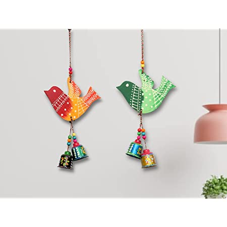 JH Gallery Handcrafted and Emboss Painted Colorful Wooden Birds Hangings for Door/Wall/Garden Decor, Multicolor (1 Pair)