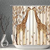 ZXQZ-Duschvorhang. Vollmond Duschvorhang Sternenhimmel Nacht Szenische Dekor Gewebe Bad Gardinen, 90x70 Zoll Polyester mit Haken (Color : 80x70 Inch, Size : Brown Sepia)