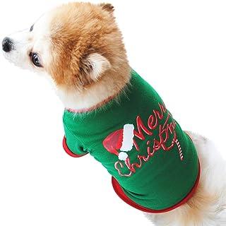 Fossrn Ropa Disfraz Navidad Perro Pequeño Chihuahua Yorkshire Mascotas Cachorros Camiseta de Patrón de Sombrero de Navidad y Merry Christmas