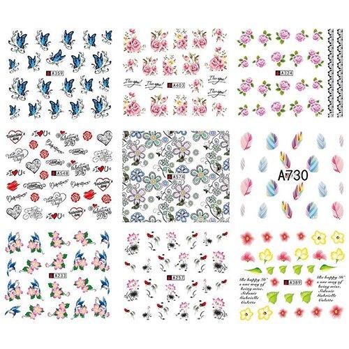 Bodhi200 Lot de 50 feuilles de transfert à l'eau pour décoration d'ongles, style aléatoire