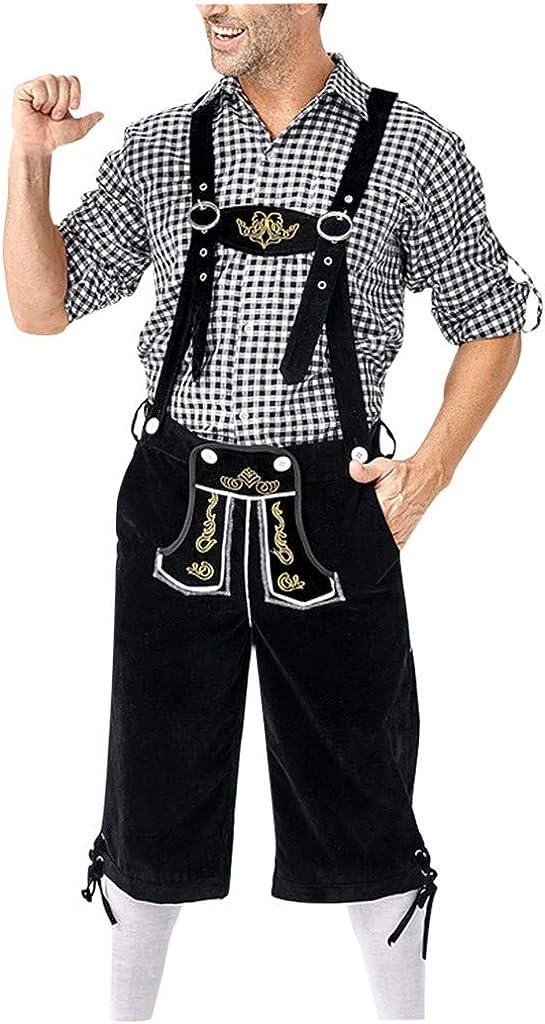 Holzkary Men's Beer Festival Casual Lapel Plaid Long Sleeve Shirt Top/Suspender Suits