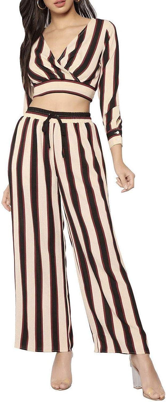 Angsuttc Women's Striped 2 Piece Outfit Wrap V Neck Crop Top and Wide Leg Long Pants Set