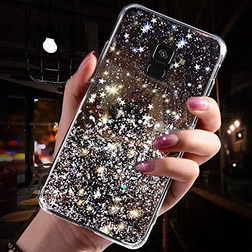 Jinghaush Kompatibel mit Samsung Galaxy A8 Plus 2018 Hülle,Handyhülle Galaxy A8 Plus 2018 Cover Glitzer,Transparent TPU Silikon Mädchen Frau Glänzend Glitzer Schutzhülle Kratzfest Hülle Case,Schwarz