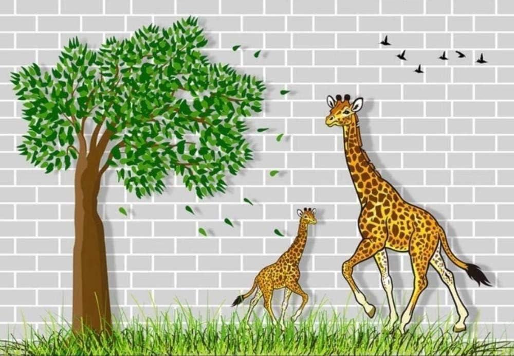 Wallpaper Sticker Time sale 3D Mural Giraffe in A Cheap bargain Wall Brick Woo