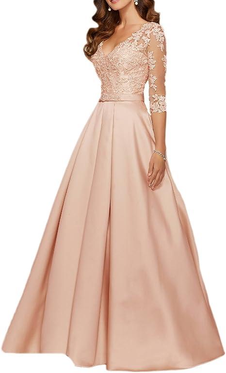 Nuojia Damen Elegante Abendkleider Lange Armel Satin Spitze Ballkleider Hochzeitsfeier Kleider Amazon De Bekleidung