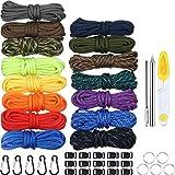 Kits de Paracord Elaboración Combinada, 150 Pies 15 Colores Cuerda de Paracaídas con Hebilla Anilla de Llavero y 3 Piezas Agujas de Paracord Kit de Agujas de Coser
