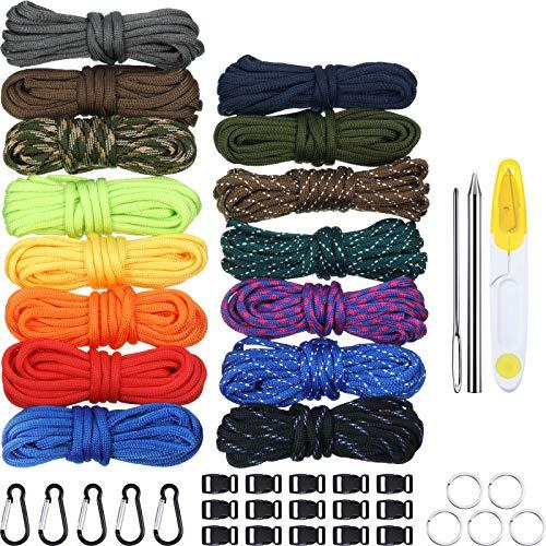 WILLBOND 150 Pieds 15 Couleurs Corde de Parachute avec Boucles Porte-Clés Anneaux et 3 Pièces Aiguille à Lacer Paracord Kit d'Aiguilles à Coudre