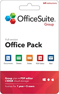 OfficeSuite Group Compatible with Microsoft® Office Word Excel & PowerPoint® and Adobe PDF for PC Windows 10, 8.1, 8, 7 - 1-year license, 5 users