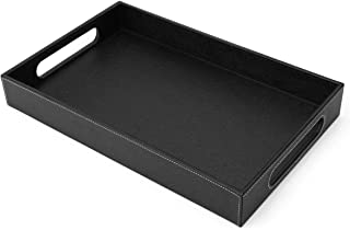 Lewondr Valet Tray with Wide Handles, PU Leather Serving Tray, Desktop Decorative Catchall Tray, Jewelry Key Tray, Counter...