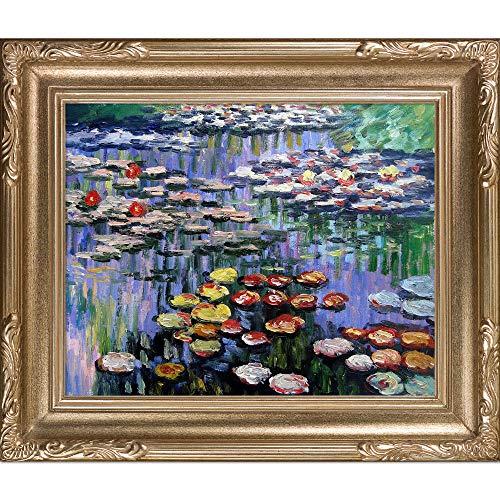 overstockArt Rosa Seerosen von Monet mit viktorianischem Goldrahmen Florentine, Bilderrahmen 26