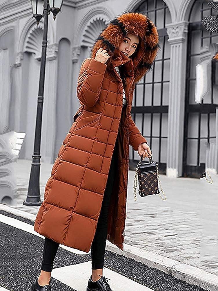 Uni-Wert Damen Winterjacke Lange Daunenjacke Warm Parka Jacke mit Fellkapuze Steppjacke Wintermantel Casual Daunenmantel Braun