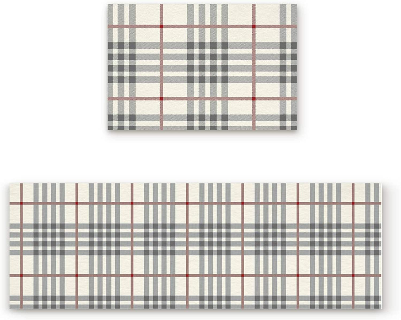 Abstract Design Door mat 2 Piece Set, Plaid Pattern Beige Doormat Rug,Decorative Felt Floor Mat with Non-Skid Backing,Fit for Indoor,Kitchen,Bedroom (19.7x31.5in+19.7x63in)