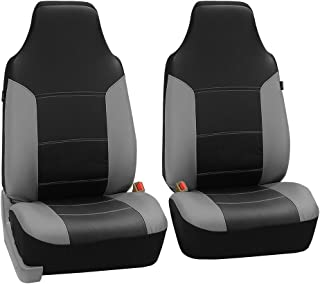 FH Group FH-PU103102 High Back Royal PU Leather Car Seat Covers Airbag & Split Gray Black