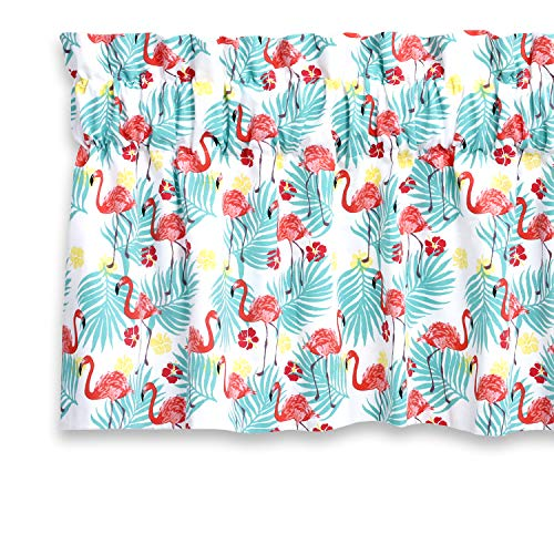 Cackleberry Home Tropical Flamingo Valance Curtain Lined 54 Inches W x 17 Inches L