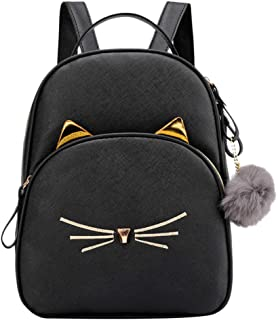 Zainafacai Ladies Cat Backpack,Fashion Women Students Hairball Solid Color School Bag Backpack Shoulder Bag
