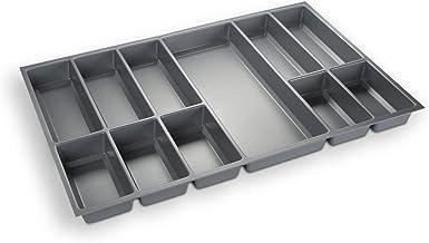 Orga-Box Besteckeinsatz Silbergrau für 80er Schublade z.B. Nobilia ab 2013 (473,5 x 694 mm) Besteckkasten III