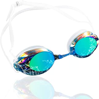 Swimming Goggles for Adults, Zodaca Anti-Fog UV Protection Triathlon Mirrored Swim Goggles with Crystal Clear Lens, Protective Case, Memory Silicone, No Leaking for Men and Women - 4 Colors Available