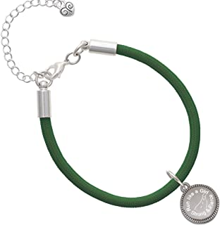 Stainless Steel Disc Run Like a Girl - Strong and Fierce Kelly Green Malibu Paracord Bracelet