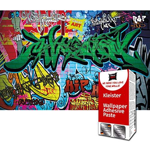 GREAT ART Fototapete Street Style Graffiti Schriftzüge 336 x 238 cm – Stencil Kinderzimmer Jungen Mädchen Comic Wandtapete Dekoration Wandbild – 8 Teile Tapete inklusive Kleister
