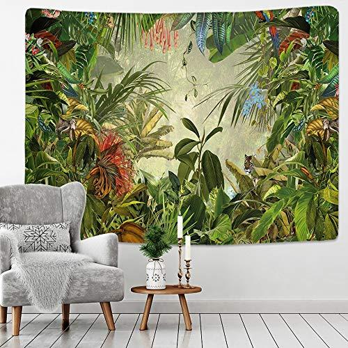 JXWR Tapiz de Palma Colgante de Pared patrón de Flor de Hoja Tropical Tapiz de Pared de Playa Fondo de Animal Revestimiento de Pared Tapiz de Alfombra 150x100cm