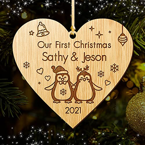 EDSG Personalised Christmas Tree Bauble First Xmas Decoration for New Couple 1st Christmas as Mr.&Mrs Santa Gift Wooden Christmas Tree Ornament for Newly-wed Hand Finished in UK