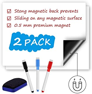 Magnetic Dry Erase Whiteboard Sheet for Refrigerator, Refrigerator White Board Planner & Organizer with Stain Resistant Technology, Includes 3 Fine Tip Markers & Big Eraser (2 Pieces, 12 x 8 Inches)
