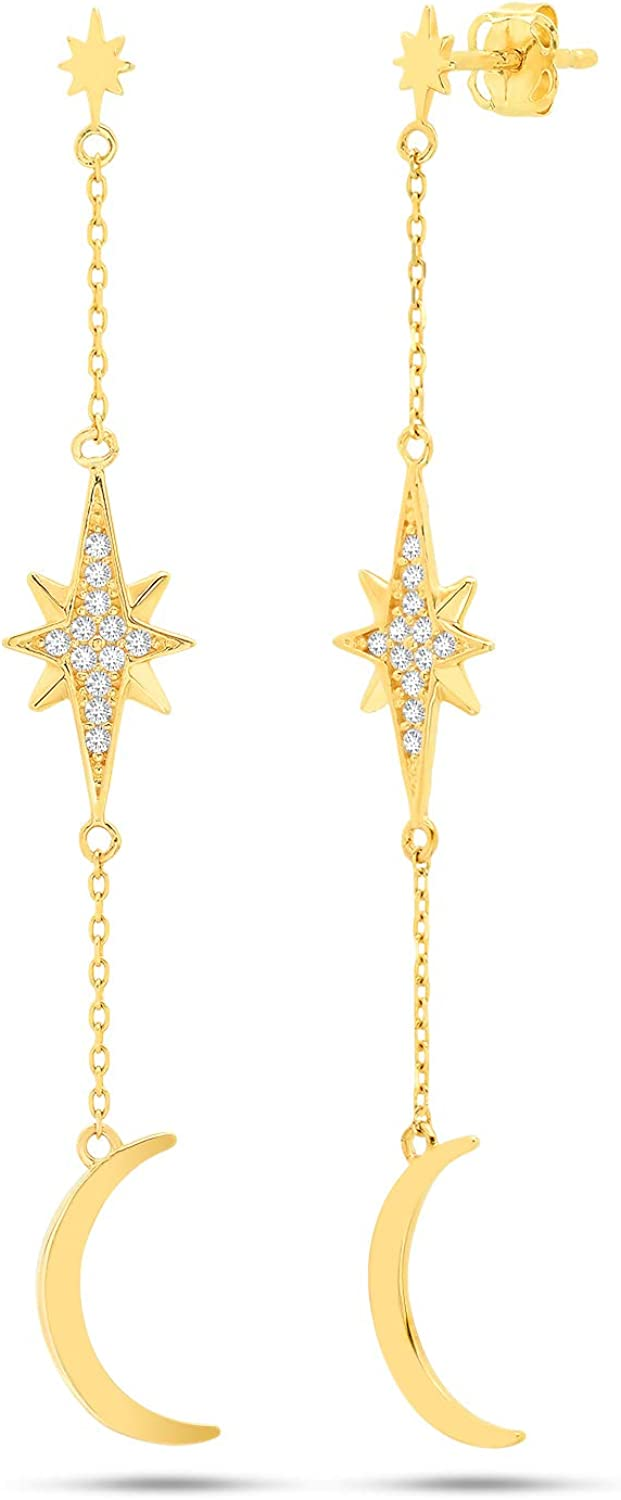 Nicole Miller Fine Jewelry Whimsical Collection 14k Yellow Gold Sunburst Crescent Earrings
