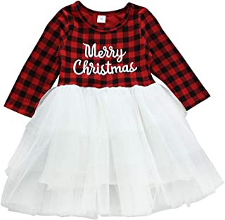 Kids Toddler Baby Girl Plaid Christmas Dress Outfit Long Sleeve Princess Party Dress Playwear Winter Fall Clothes