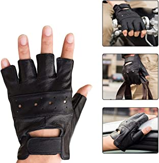 Infgreate Stylish Warm Outdoor Sports Gloves Men Faux Leather Sports Workout Weightlifting Half Finger Anti-skid Wrap