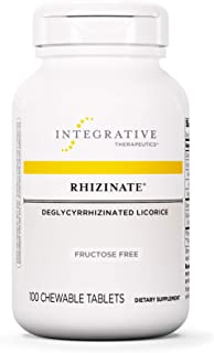 Integrative Therapeutics - Rhizinate, Fructose Free - Deglycyrrhizinated Licorice (DGL) - Suppot Stomach and Intestinal Relief - Original Licorice Flavor - 100 Chewable Tablets