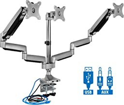 Mount-It! Triple Monitor Mount | Desk Stand with USB and Audio Ports | 3 Counter-Balanced..