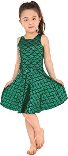 Shiny Cute Party Mermaid Tail Fish Scales Pleated Skater Skating Dress for Girls 5T-12T
