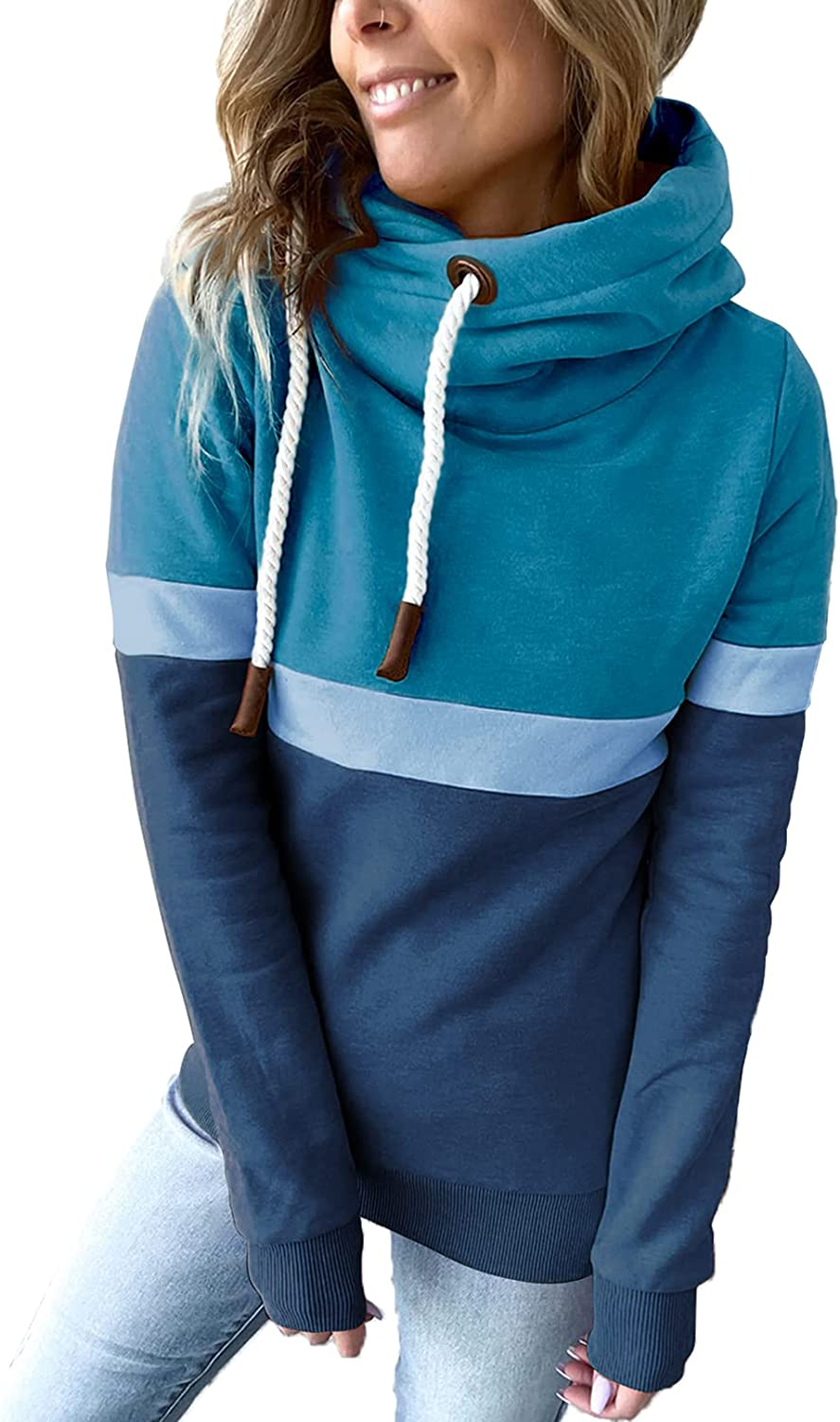 Happy Sailed Womens Hoodie Tops Cowl Neck Long Sleeve Color Block Drawstring Pullover Sweatshirts(S-XXL)