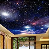 Lovemq 3D Fototapete Sternenhimmel Deckengemälde Wandverkleidung Dekor Wohnzimmer Schlafzimmer Decke Fresko Boden Tapetenbahn-150X100Cm