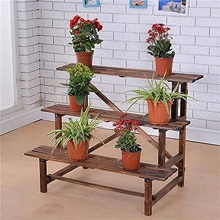 3 Tier Flower Stand Wood Planter Ladder Display Shelf Rack for Garden Outdoor Backyard