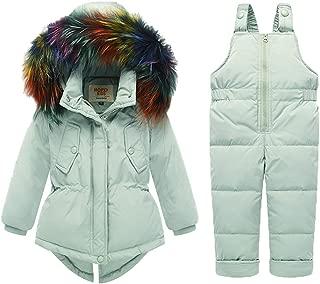 REWANGOING Baby Kids Girls Winter Warm 2pcs Fur Trim Hooded Puffer Down Jacket Snowsuit+Snow Ski Bib Pants Set Outfits