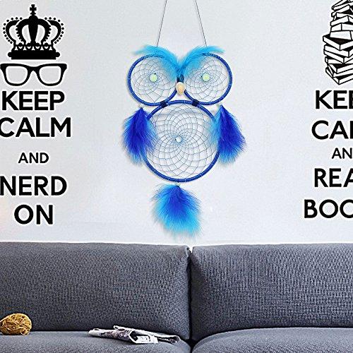 Inde Créative Nuit Perle Hibou Rêve Catcher Pur Main Tissage Adapté pour La Décoration De Mariage À La Maison,Blue,1Pcs