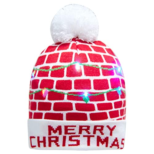 a81b17c70dd Goodstoworld LED Knit Christmas Cartoon Hats Womens Mens for Festival Party