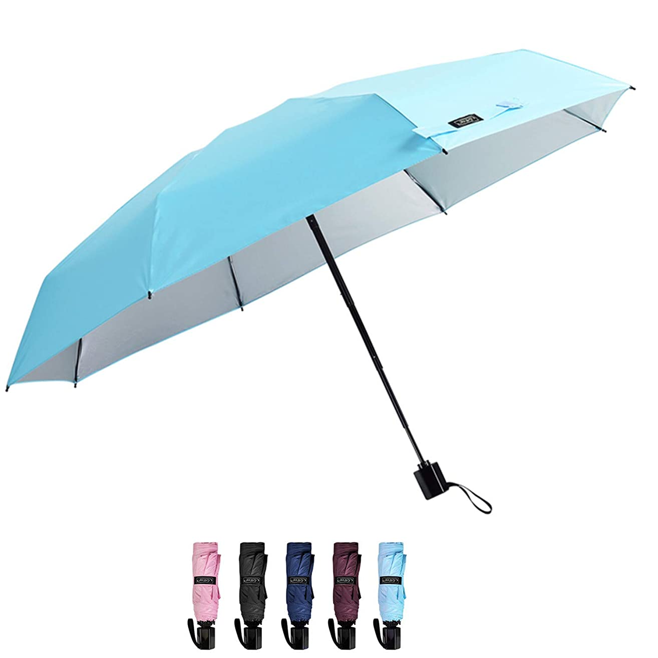 G4Free Compact Mini Travel Umbrella UV Protection Sun & Rain Collapsible Umbrella Windproof Lightweight Folding Umbrella for Men Women Kids