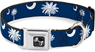 Buckle-Down Seatbelt Buckle Dog Collar - South Carolina Flags Scattered