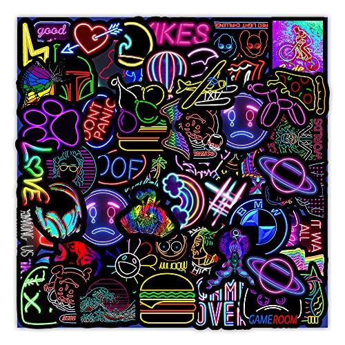 PRETTYSUNSHINE Sticker Set 50 Stück, Graffiti Neon Aufkleber Vintage Sticker für Auto Fahrrad Koffer Helm Laptop Skateboard Motorrad Stickerbomb Wasserfest