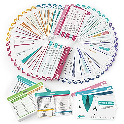 Nano shield 96 Nursing Badge Reference Cards, Nursing School Essentials Set- Lab Values, EKG, Spanish Translation and More, Great Nursing Student Gifts